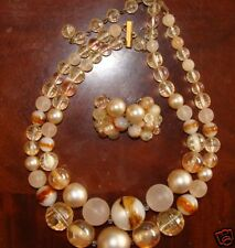 KARU ARKE VINTAGE NECKLACE EARRINGS SET PEACH BROWN