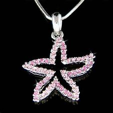 w Swarovski Crystal Pink STARFISH Ocean Star Fish Beach Wedding Pendant Necklace