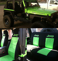 1997-2002 Black Lime Green Front and Rear Seat Covers