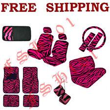 Set of Hot Pink Zebra Print Car Seat Covers Floor Mats CD Visor Dice & Lot More