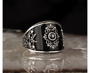 Handmade pure 925 SILVER rings Onyx stone Men all sizes jewellery Box RRP £50