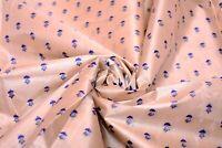 Vintage Indian Saree 100% Pure Crepe Silk Printed Soft Dress Sari Fabric Beige