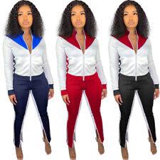 New Women Stylish Long Sleeves Zipper Patchwork Sporty Long Jumpsuit 2pcs Casual
