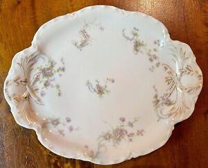 """EUC Charles Haviland Limoges 11"""" Platter Pink Floral w/ Gold Trim Schleiger 57A1"""