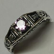 Natural Pink Amethyst 925 Solid Sterling Silver Solitaire Filigree Ring 7