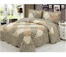 100% Cotton Quilted Bedspread Throw Patchwork Set 2 Pillow Case Double King Size