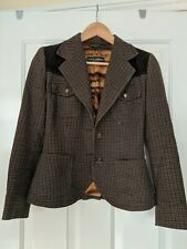 Dolce Gabbana Tweed Style Brown Blazer Jacket Size 38 UK XS