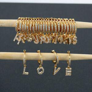 26 Alphabet Letter Initial Dangle Drop Earring Cubic Zirconia Hoop Earrings New~