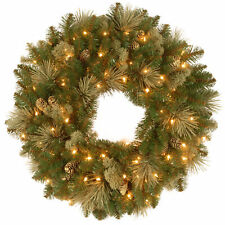 """National Tree30"""" Carolina Pine Wreath with 14 Flocked Cones and 100 Clear Lig..."""