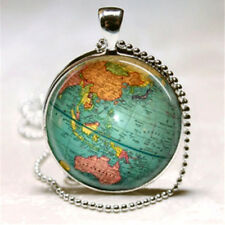 Vintage Globe Necklace Planet Earth World Map Art Pendant with Ball Chain Includ