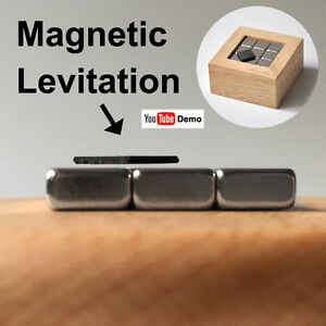 Pyrolytic Graphite Magnetic Levitation WoodBox SET,  Diamagnetic Science Desktoy