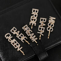 Women Luxury Hollow Out Letters Hair Clip Shimmer Rhinestone One Word Hairpins