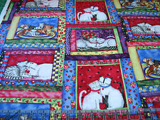 1 Yard Quilt Cotton Fabric- Spectrix Debbie Hron Crazy Cats Patch