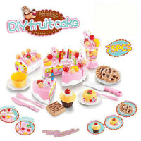 Kids Classic Pretend Play Birthday Cake Kitchen Cutting Toy Food Tea Set