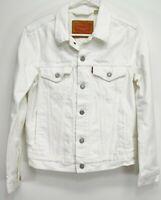 New Levis Womens 72334 White Button Up Jean 100% Cotton Denim Trucker Jacket XS