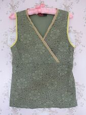 Rare! Vtg 60s70s Psychedelic Floral Lace V-Neck Vest Top Green Brown Yellow Gold