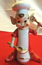 Vintage Kitchen Pixie Elf Fork Spoon Gold Trim 6.5 Inches Tall Red White CUTE!