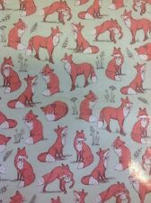 Mrs Fox Woodland Pvc Coated 100% Cotton Fabric In Duck Egg By The Half Metre