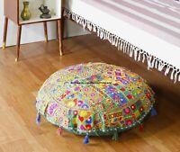 81.3cm Patchwork Vert Indien Handmade Sol Coussin Rond Housse Coussin Décor Pouf