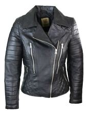 Ladies Black Leather Jacket Classic Biker Style 100% REAL NAPA LEATHER