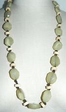 ROBERT ROSE Green Faceted Marbled Plastic Wood Beaded Necklace
