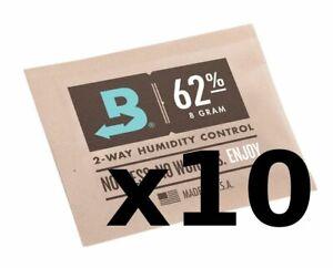 Boveda 62% RH 8 gram Humidipak - 10 Pack - 2-way Humidity Control (8g)