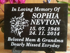 "Personalized engraved memorial plaque in black natural granite  6"" X 8"" + stand"