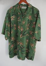 Tehama Clint Eatswood Xl Aloha Shirt Green Hawaiian S/S Bird of Paradise