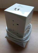 White Extension Power Hub 8 Sockets 2 USB Points 1.5m Lead Surge Protect Cheap!