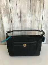 Coach Black Nylon Teal Small Hobo Bag Signature Cosmetic Wristlet Pouch CLASSIC!