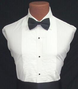 Men's Ivory Off-White Pleated Front Laydown Collar Tuxedo Shirt Wedding Prom