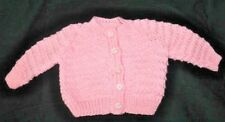 Hand Knitted Baby Cardigan in Salmon Pink. 0-3 Months.