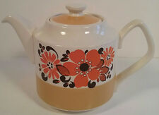 Sadler Vintage Retro Small Orange Floral Tea Pot 2 Cup / 1 Pint Teapot 1960's