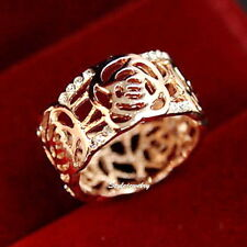 Rose Gold Plate Filigree Rose Cocktail Wrap Ring Size 9 R42