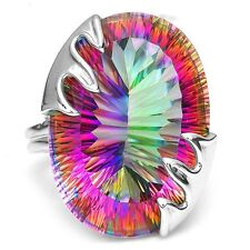 8.9CT Mystic Rainbow Topaz Women 925 Silver Ring Wedding Engagement Size 6-10
