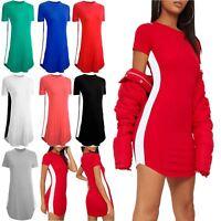 Womens Ladies Casual Curved Hem Short Sleeve Side Panel Long T Shirt Mini Dress