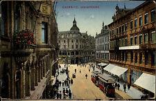 Chemnitz Sachsen AK ~1910 Königsstraße Straßenbahn Deutsche Bank color Postkarte