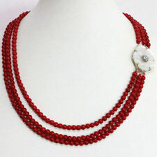 3Row 6mm Red Coral Round Beads & White Mother Shell Flower Clasp Necklace JN1970
