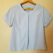 Lands' End Blouse Top Shirt 12P Baby Blue Short Sleeve Button Front Silky Career