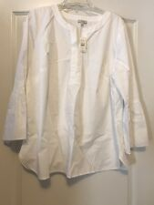 NWT Talbots Sz 1X Womens White V-Neck Tunic W/ Long Bell Sleeves!