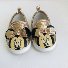 Baby Girls Minnie Mouse Blush Pink Shoes, Crackled Faux Leather Size 6-9 Mo. EUC