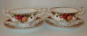 2 Royal Albert Old Country Roses Soup Coupes & Saucers 1st Quality 1960's VGC
