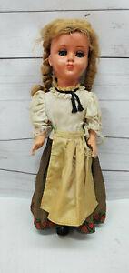 "German Celluloid Jointed Girl Doll 12"" Blonde Hair Sleepy Blue Eyes"