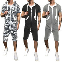Men All in One  Hoodies Jumpsuit Short Sleeve Casual Playsuit Zip UP Tracksuit