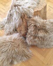 Kissen Tibetlammfell mongolisches Fell Sheepskin beige snow 30x30 cm super weich