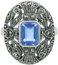 MARCASITE AND AQUAMARINE RING HALLMARKED 925 SILVER NEW FROM ARI D NORMAN