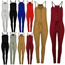 Ladies Muscle Back Jumpsuit Front Pockets Buttons Womens Full Length Playsuit