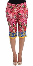 DOLCE & GABBANA Pants Pink Sicily Floral Knee Capris Shorts IT36/US2/XS RRP $960