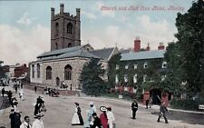 CHURCH AND RED LION HOTEL, HENLEY-ON-THAMES, OXFORDSHIRE : POSTCARD (c1905)