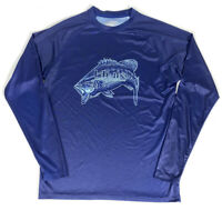 Huk Performance Large Mouth Bass Logo Long Sleeve Navy Blue Fishing Shirt Small